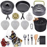 Utomhus matlagningssats, utomhus aluminium matlagningssats, vikbar ultralätt non pinne camping krukor, lätt backpacking…
