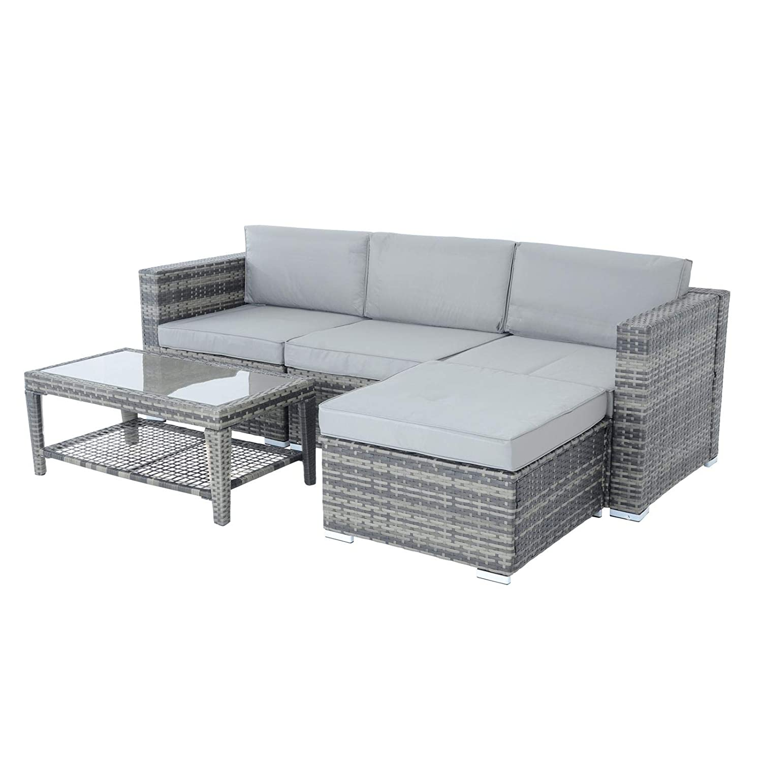 Pleasing Azuma Monaco 5 Piece Rattan Garden Furniture Set Outdoor Seating With Grey Natural Sofa Chair Seat Coffee Table Footstool Storage Ottoman For Patio Alphanode Cool Chair Designs And Ideas Alphanodeonline