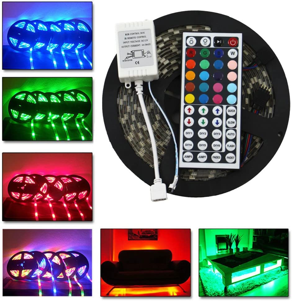 Led Strip Lights RGB Kit with Flowing Color Effect HOMINA 16.4ft IP65 Waterproof Flexible RGB 300leds with 44 Key Remote DC 12V Power Supply for Holiday Kitchen Bar Party Decor