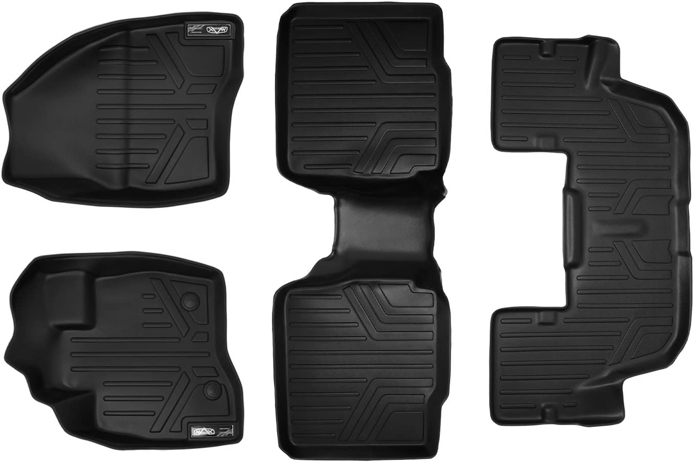 2015-2017 with 2nd Row Center Console Black 2 Row Set MAXLINER A0161//B0109 Floor Mats for Ford Explorer