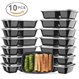 Glotoch Bento Box, 32 Ounce Wholesale 2 Compartment Plastic Food Storage Containers for Meal Prep-Microwave, Freezer & Dishwasher Safe - Eco Friendly Safe Food Container, Pack of 10