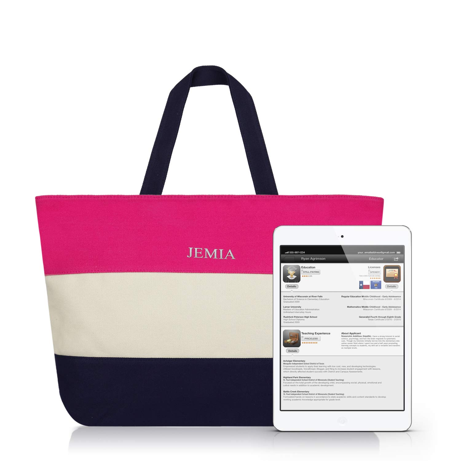 58d3da6dcbe JEMIA - Canvas Zipper Tote Bag with Striped Color for Women