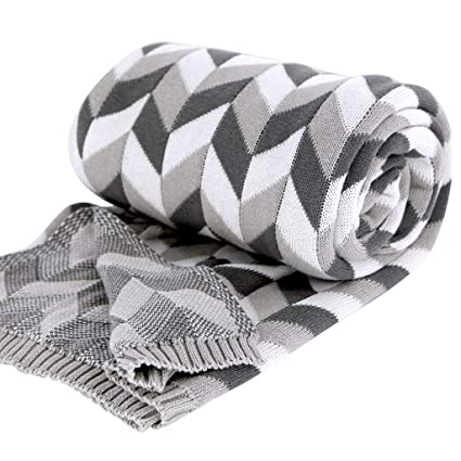 Amazon.com: AMCER 100% Cotton Knitting Blanket for Watching TV or ...