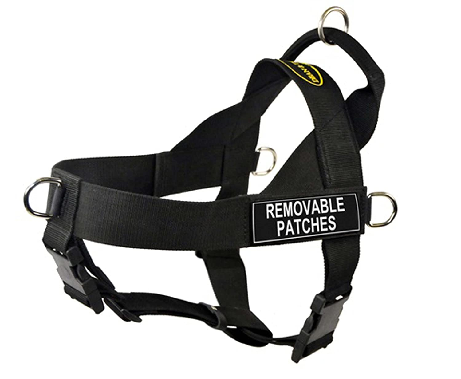 DT Universal No Pull Dog Harness, Clear Patches, Black, X-Large, Fits Girth Size  36-Inch to 47-Inch