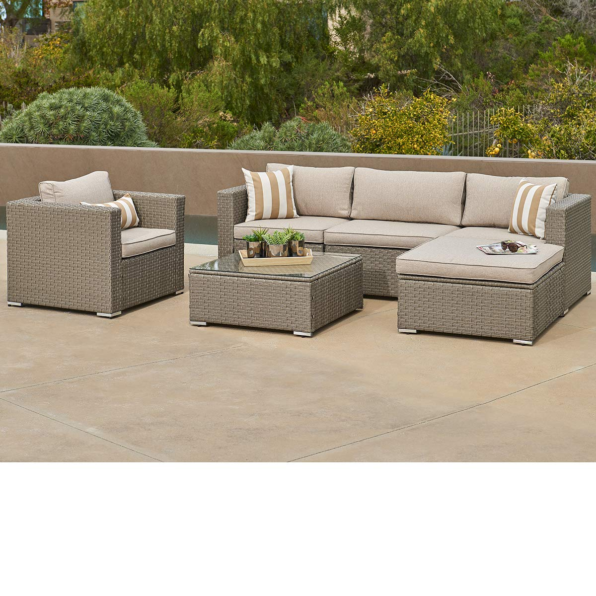 SUNCROWN Outdoor Furniture 6-Piece Sofa and Chair Set All-Weather Wicker with Grey Seat Cushions and Modern Glass Coffee Table, Patio, Backyard, Pool, Waterproof Cover