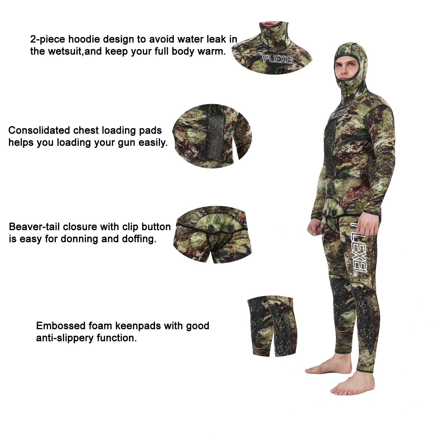 Flexel Camo Spearfishing Wetsuits Men Premium Camouflage Neoprene 2-Pieces Hoodie Freediving Fullsuit for Scuba Diving Snorkeling Swimming (7mm Grass camo, Large) by Flexel (Image #3)