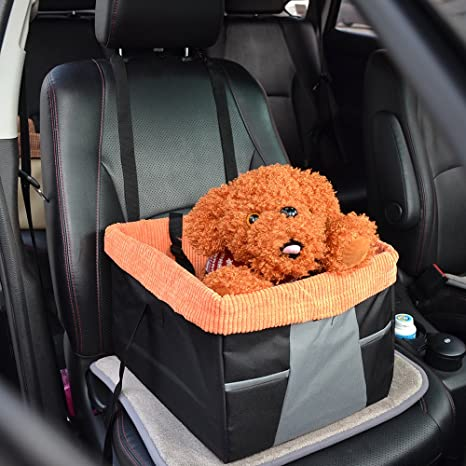Kathson Dog Booster Seat For Cars Pet Car With Belt Tether Up