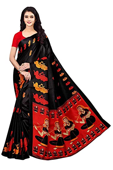 11c6bd3e480ea Shree Ram Krishna Cotton Silk Saree With Blouse Piece (SRK-S1259 Black Free  Size)  Amazon.in  Clothing   Accessories