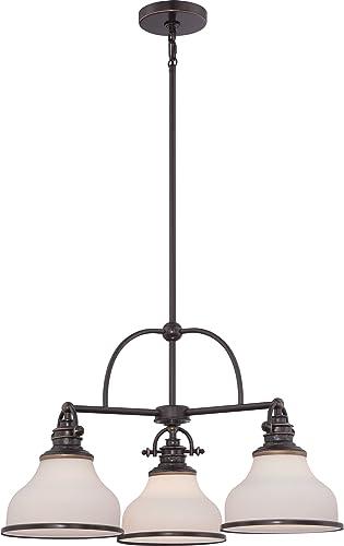 Quoizel GRT5103PN Grant Downlight Chandelier, 3-Light, 300 Watts, Palladian Bronze 16 H x 24 W