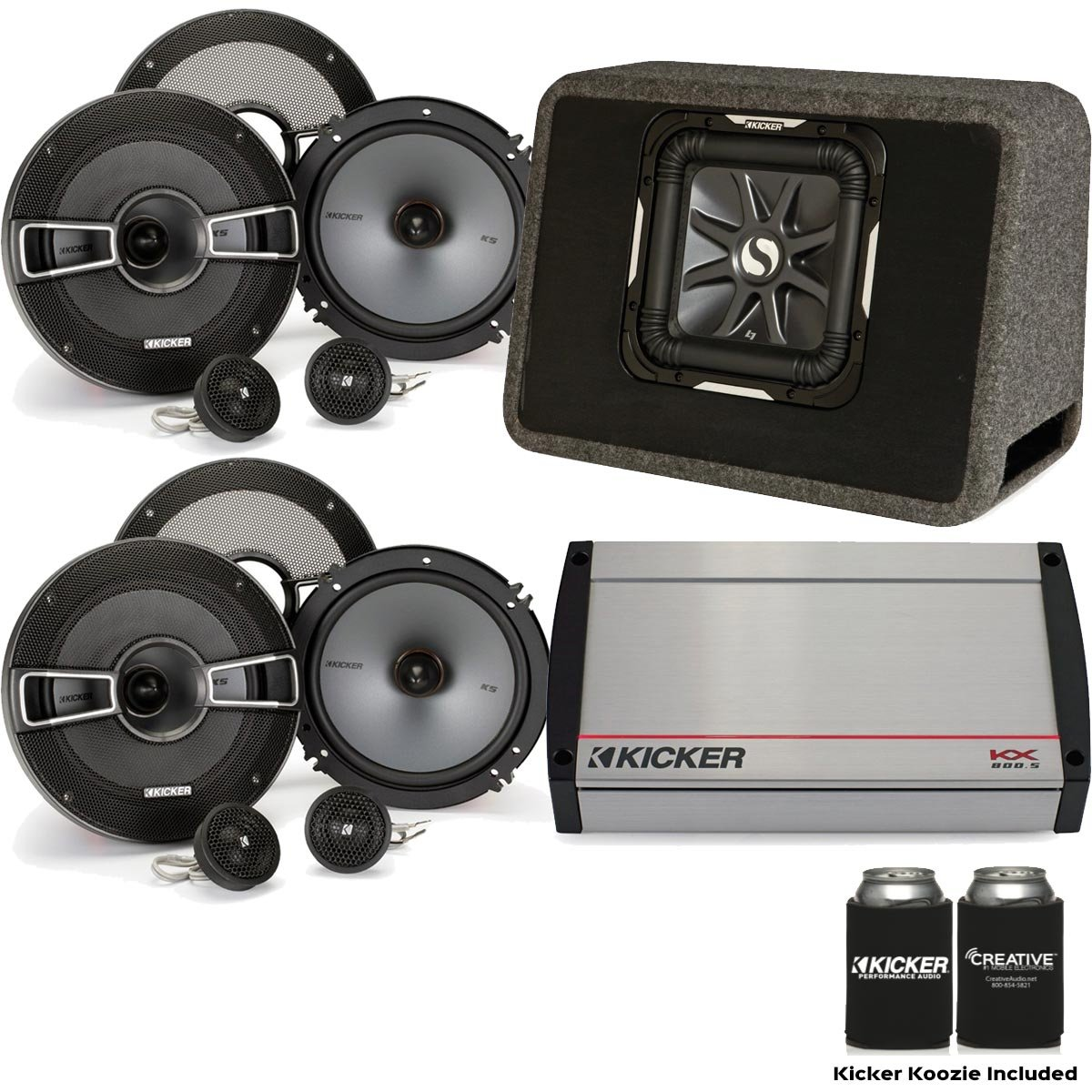 Kicker 40 kx8005 800ワット5-channel Amp、2つのペアのKS 6.5
