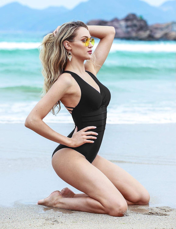 Aibrou Damen Einteiler Badeanzug,Einteilige Bauchweg Bademode Schwimmanzug Schlankheits figurformend Strandmode
