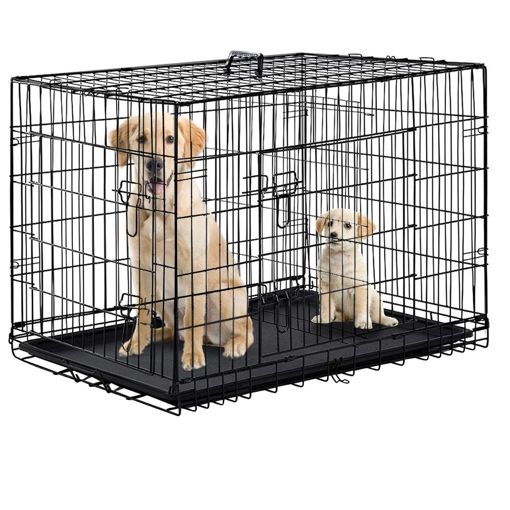 Dog Crate Dog Cage Pet Crate 48 Inch Folding Metal Pet Cage Double Door W/Divider Panel Dog Kennel Leak-Proof Plastic Tray Wire Animal Cage by BestPet (Image #1)