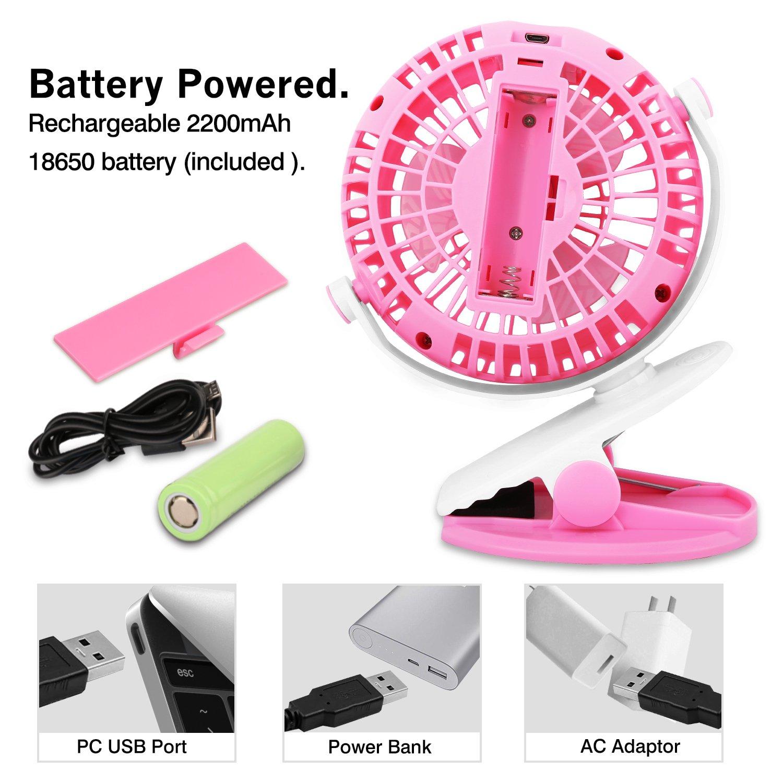 Alimentato da USB /& Integrato Batteria Ricaricabile per Ufficio Campaggio Nero Viaggio Velocit/à Regolabile a 3 Livelli ecc MoKo Mini Ventilatore da Tavolo Portatile Ruotabile Con Clip