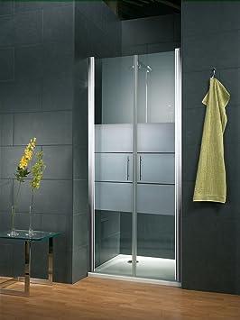 Schulte - Puerta de ducha batiente de caseta de cristal para salón con acabado mate y perfil cromado, 2 anchos, tratamiento antical a elegir, 4060991018541: Amazon.es: Bricolaje y herramientas