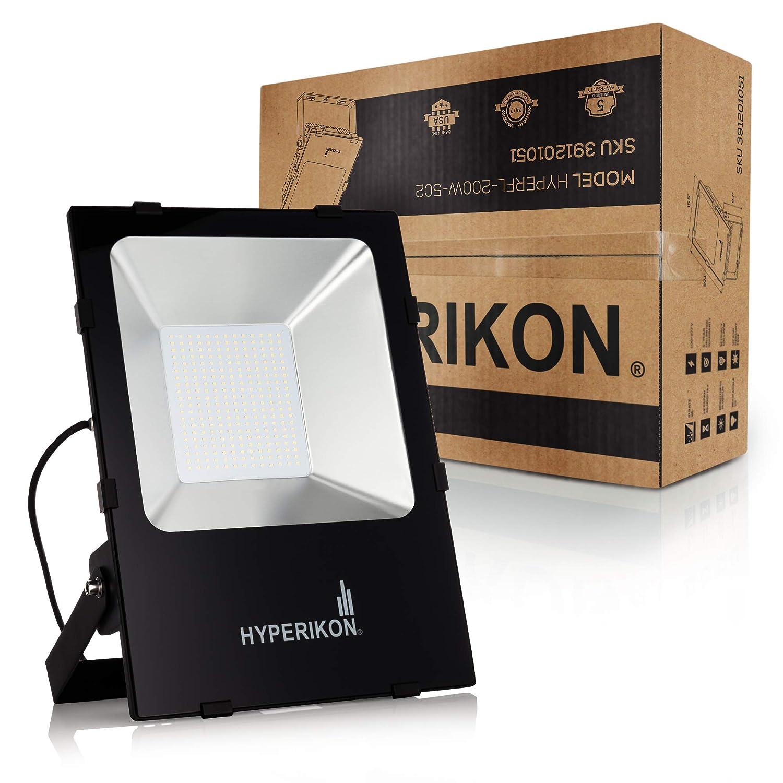 5000K Super Bright LED Outdoor 1000 Watt Equivalent IP65 22000 lumen ETL and DLC Inc. Hyperikon 200W LED Flood Light,