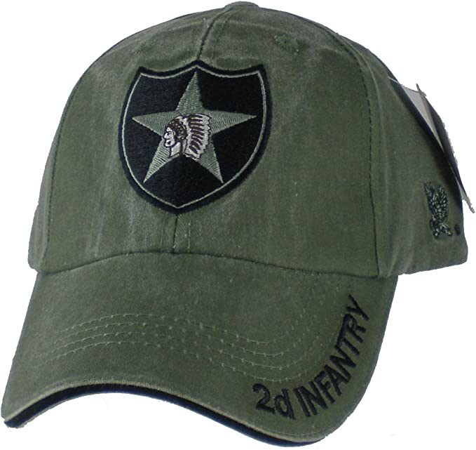 158b1074da3257 US Army 2nd Infantry Division OD Green Ball Cap, Adjustable at ...