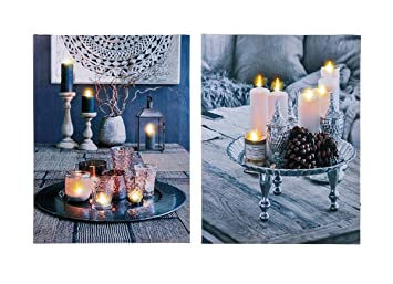 Kerzen Dekoration.Levandeo 2er Set Led Leinwandbilder 30x40cm Kerzen Dekoration Mit Beleuchtung