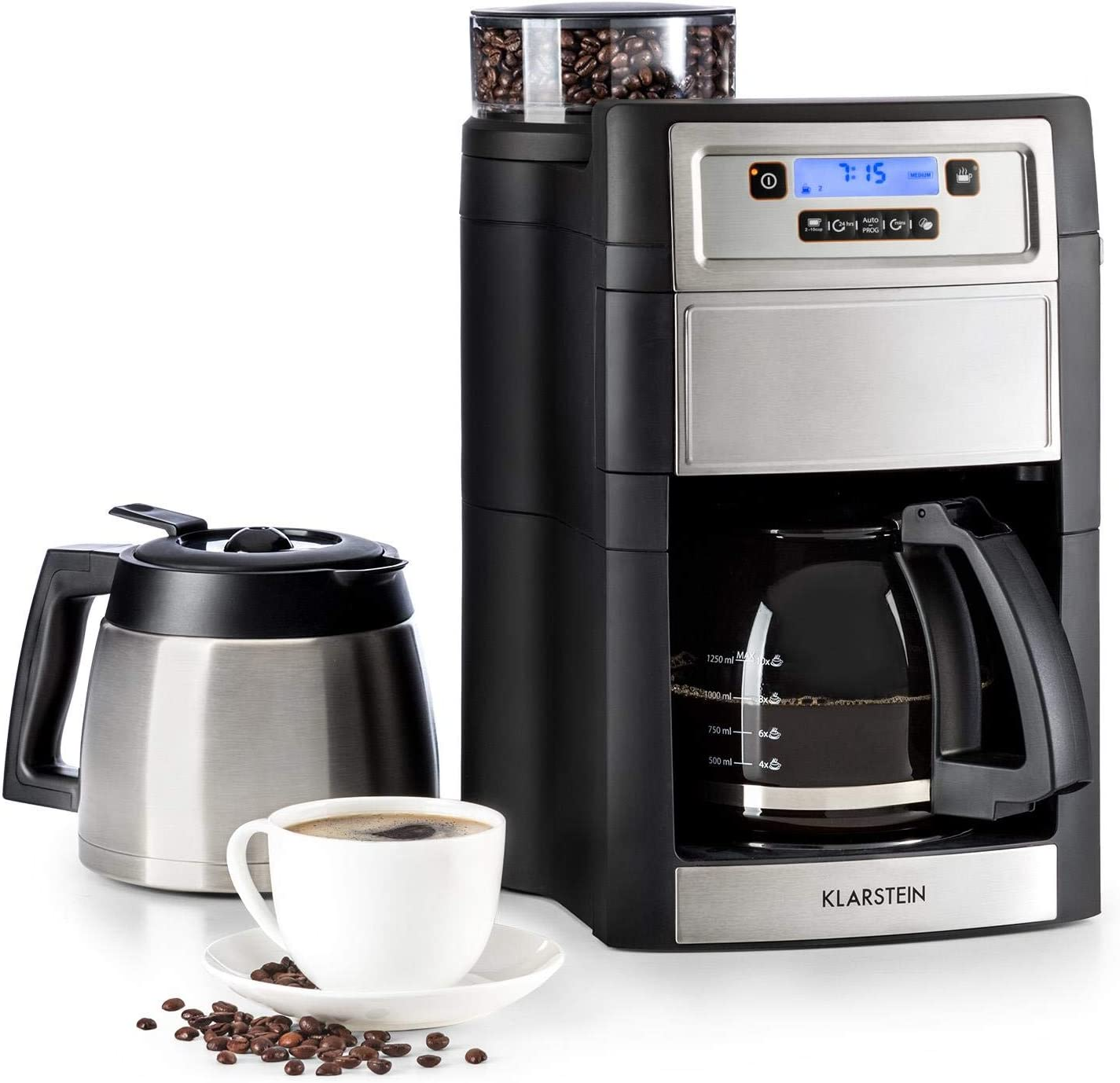 Klarstein Aromatica II Duo Coffee Machine w/Cone Gear Grinder - Filter Coffee Machine, 1000W, 1.25L Jug, 1.25L Thermos, Timer, Permanent Activated Carbon Filter, Silver