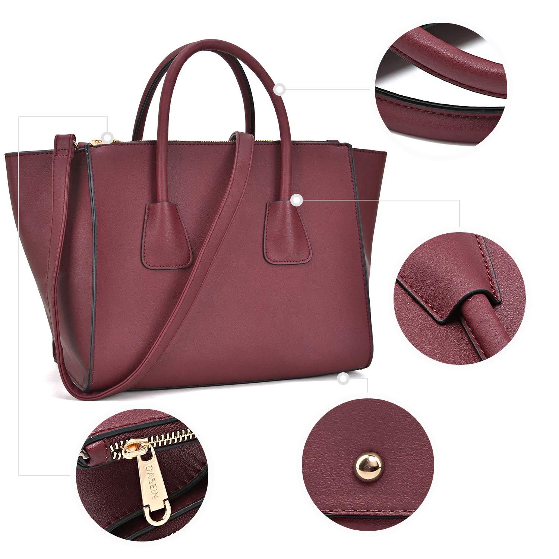 Dasein Women Winged Handbags Designer Shoulder Bag Structured Tote Satchel Purses by Dasein (Image #5)