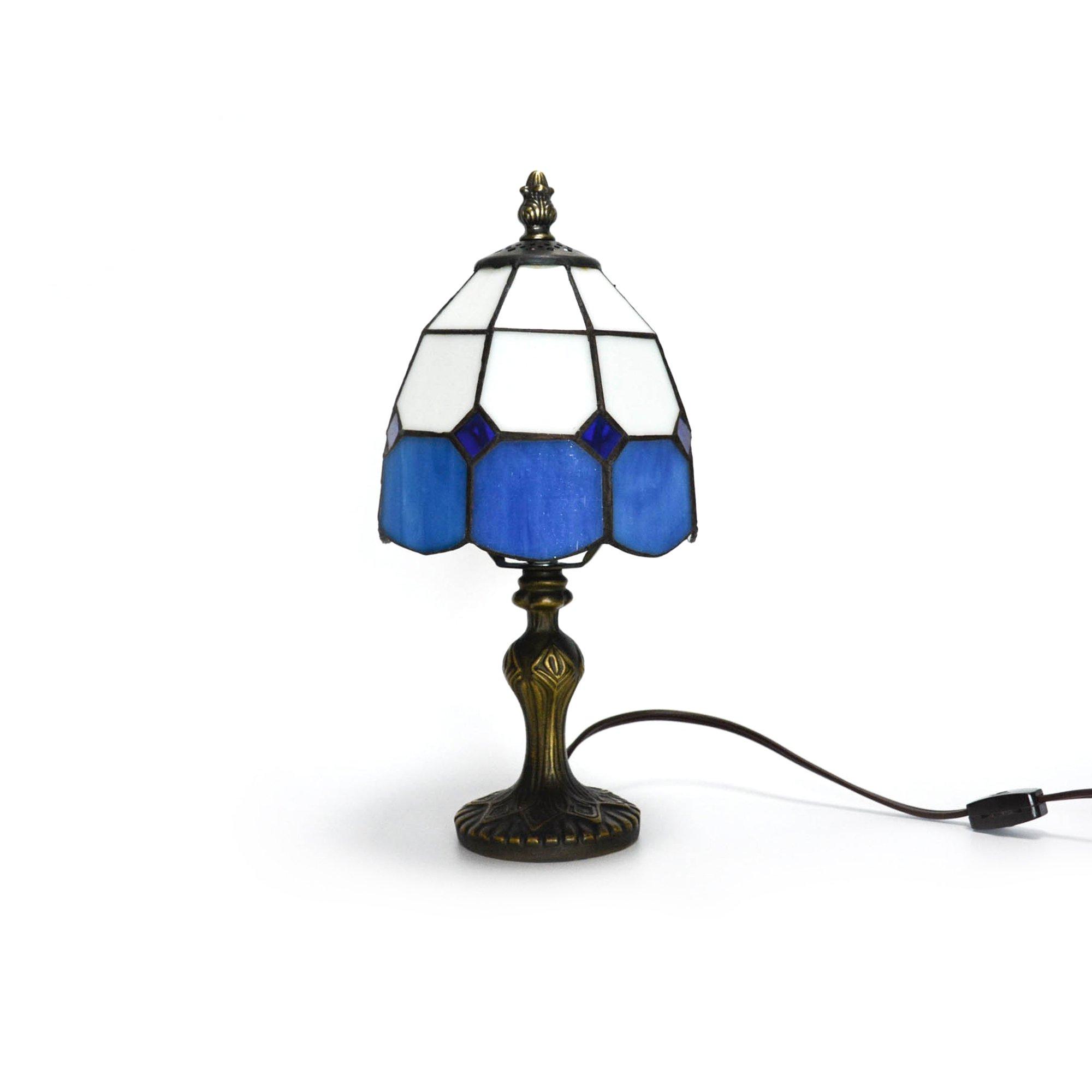 Sha.Tang-Tiffany-Style Colorful Small Table Lamp-12.3 inch Hight