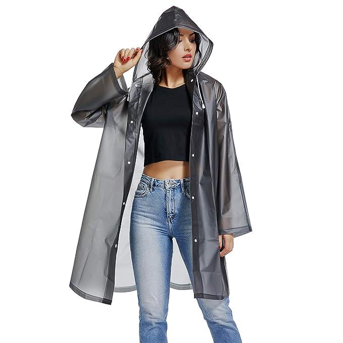 UNIQUEBELLA EVA Raincoat Waterproof Rain Poncho Reusable Unisex Men Women Long Rain Cape XL best women's raincoats