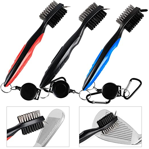 Amazon.com: 3 Pcs Dual Bristles Golf Club Brush Cleaner Ball Cleaning Clip Groove w/Spike: Health & Personal Care