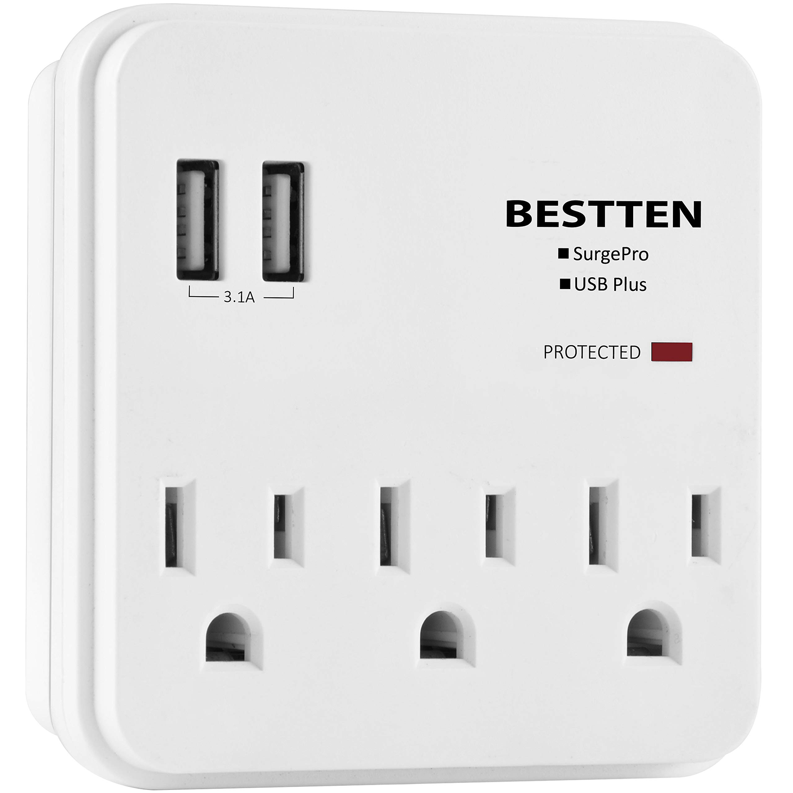 BESTTEN USB Wall Tap Surge Protector, 2 USB Charging Ports (2.4A/Port, 3.1A Total) and 3 Electrical Outlets (15A/125V/1875W), Multiple Plug-In Splitter, ETL Certified, White