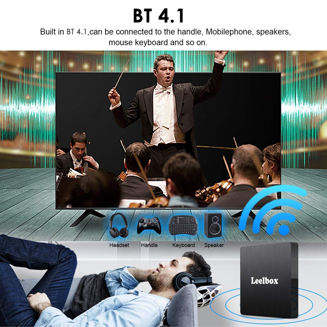 Android TV Box 8.1, 4GB RAM+64GB ROM Leelbox Q4 MAX Quad-Core 2.4GHz Support BT 4.1/WiFi/3D/4K/H.265 by Leelbox (Image #4)