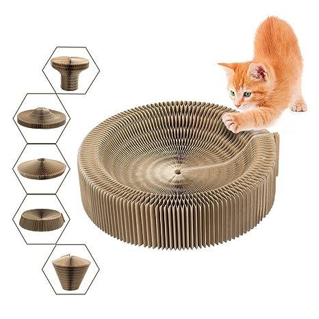 Cama Scratcher gato, plegable cartón Scratcher juguete ronda Scratching salón cama para gatito Kitty Cat