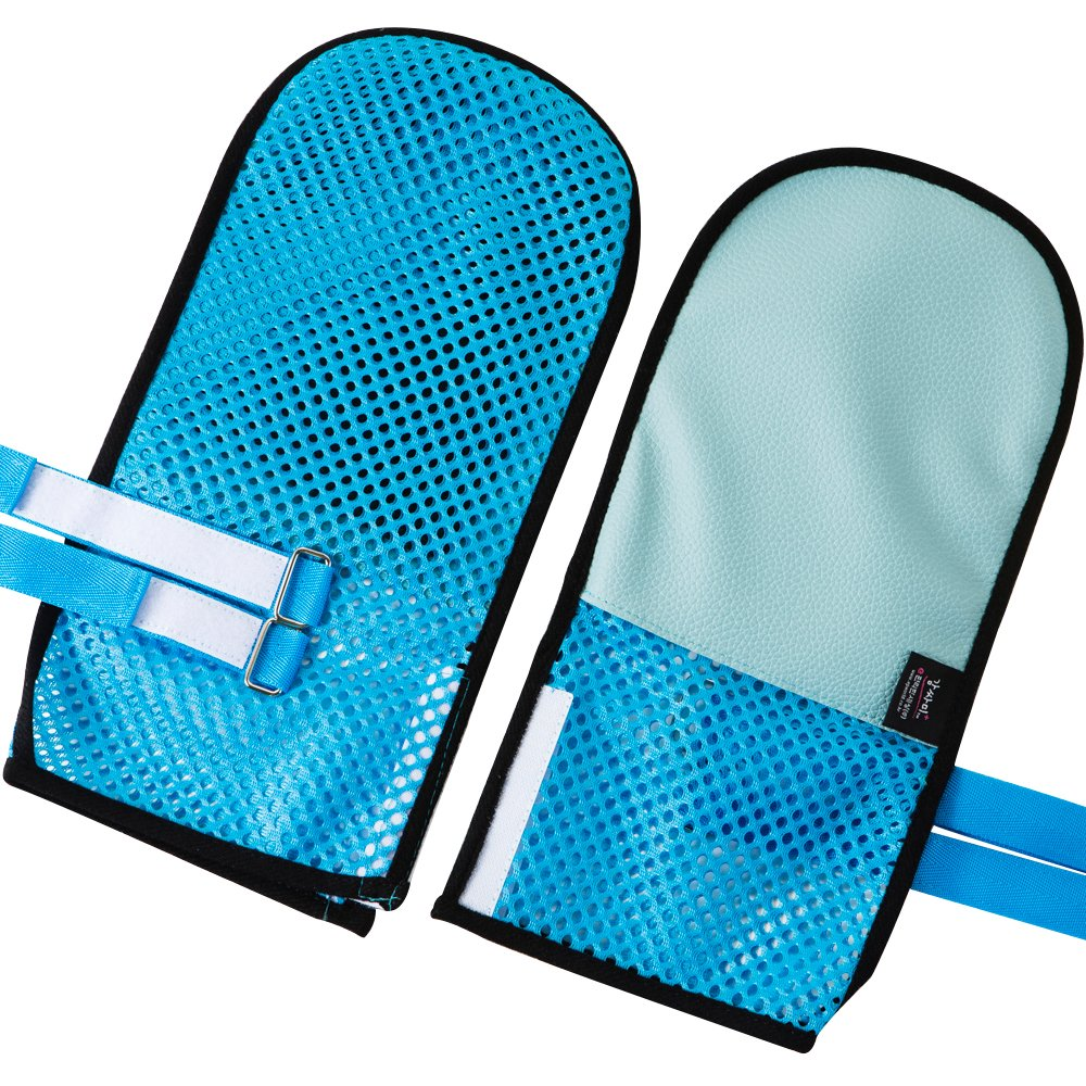 Control Mitts Safety Hand Glove Dementia Gloves Soft_Blue-The Floor is Soft.Best Solution