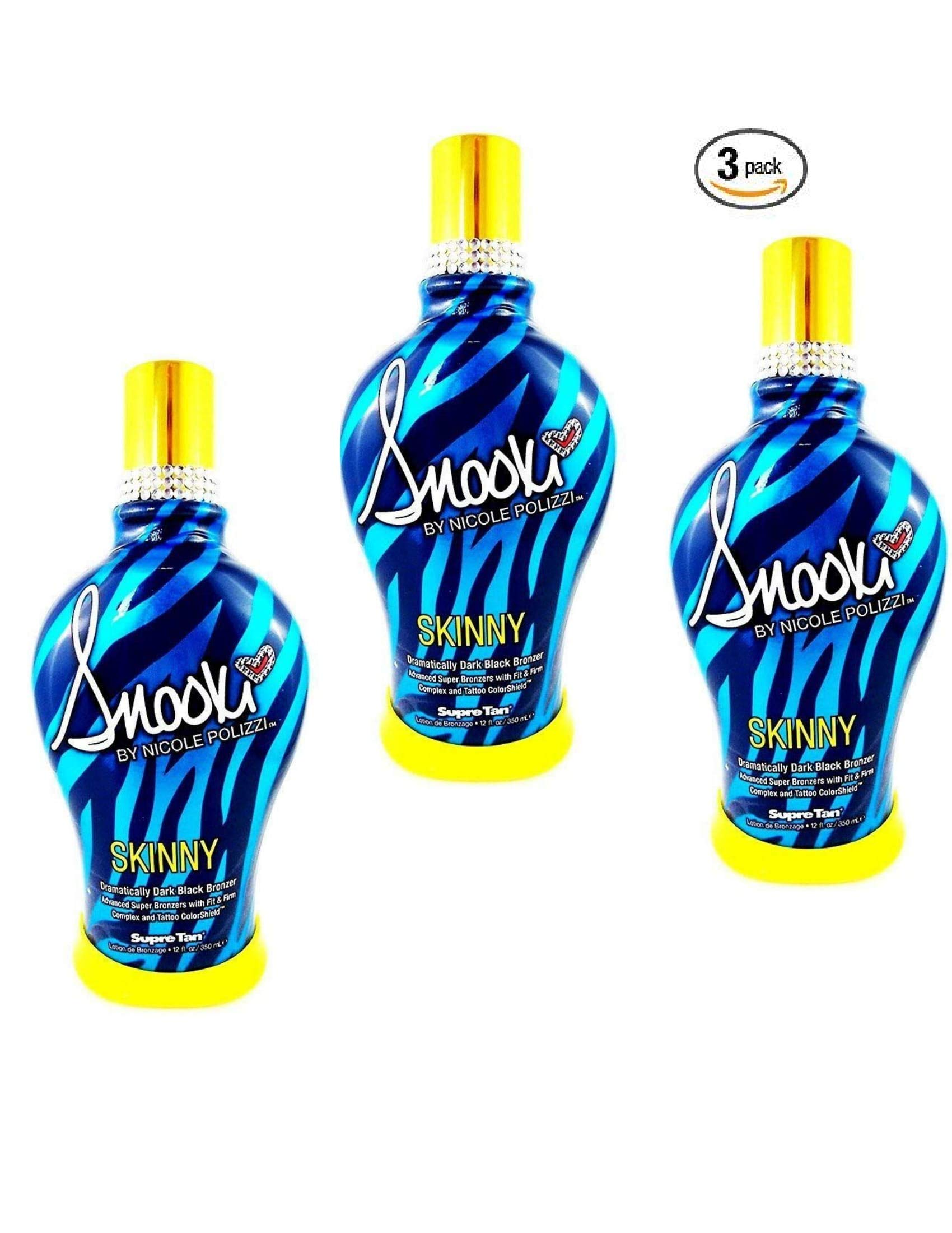 3 Pack of 2014 SNOOKI SKINNY DARK BLACK BRONZER FIRMING INDOOR TANNING BED LOTION SUPRE, 12 oz (Three Units Per Order, 36 FL OZ TOTAL) by Supre