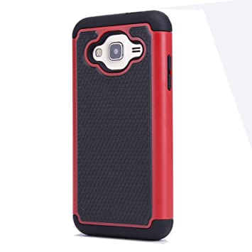 32nd® Funda Rígida Anti-Choques de Alta Proteccion para Samsung Galaxy J3 (2016) SM-J320 Carcasa Defensora de Doble Capa – Rojo