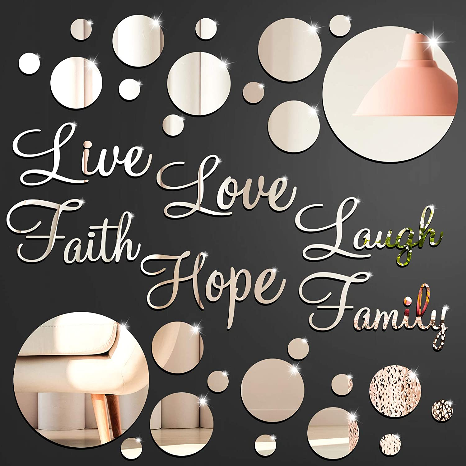 3D Acrylic Mirror Wall Decor Stickers DIY Silver Faith Live Laugh Hope Love Family Mirror Wall Decor Solid Circle Mirror Wall Decal for Home Office School Classroom Teen Dorm Room Decoration