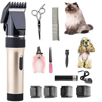 lingyude Cortapelos Eléctrico Inalámbrico para Perros,Professional Rechargeable Cordless Kit de Cortapelos para Perros Gato