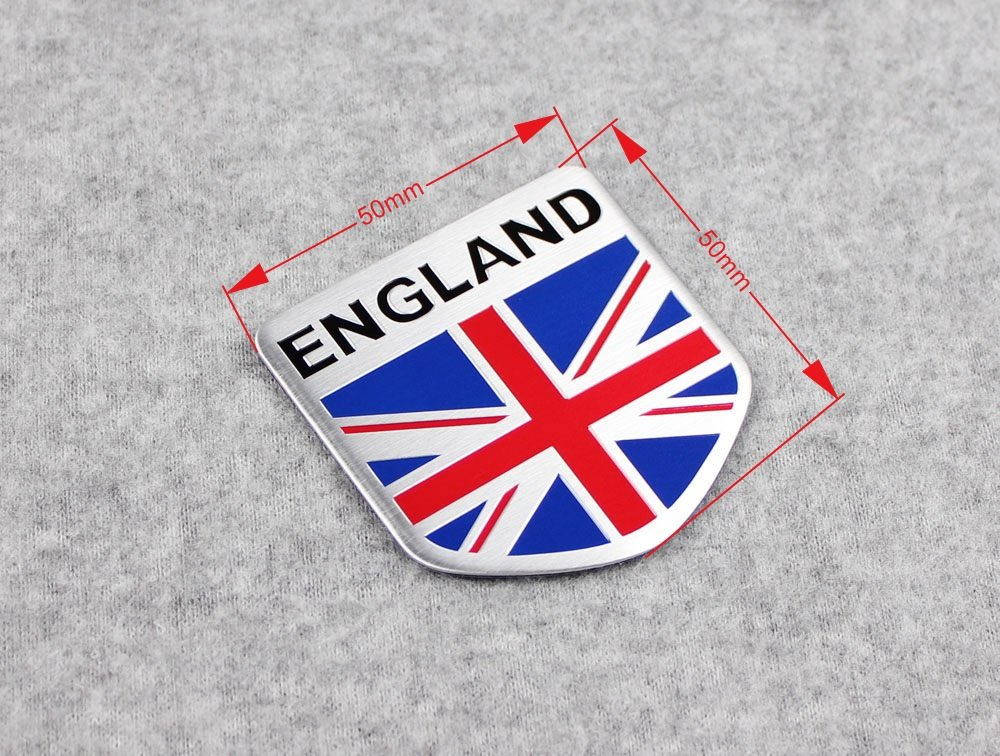 Car Alloy Aluminum ENGLAND Britain Flag Shield Emblem Decal Badge Sticker Beautost