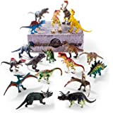 Dinosaur Toys 6 to 9 inch, 18Pcs Jumbo Dinosaurs Action Figures with Movable Jaws and Joint, Jurassic Dino Park Party Supplies, Great Dinasors Educational Toy for Kids By Gifts2U