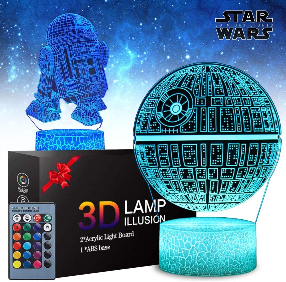 2 Patterns Star Wars Gifts 3D Illusion Lamp - Star Wars Toys Night Light for Kids Room Decor, 16 Color Change with Remote Timer, Boys Girls Birthday Cool Gifts for Star Wars Fans