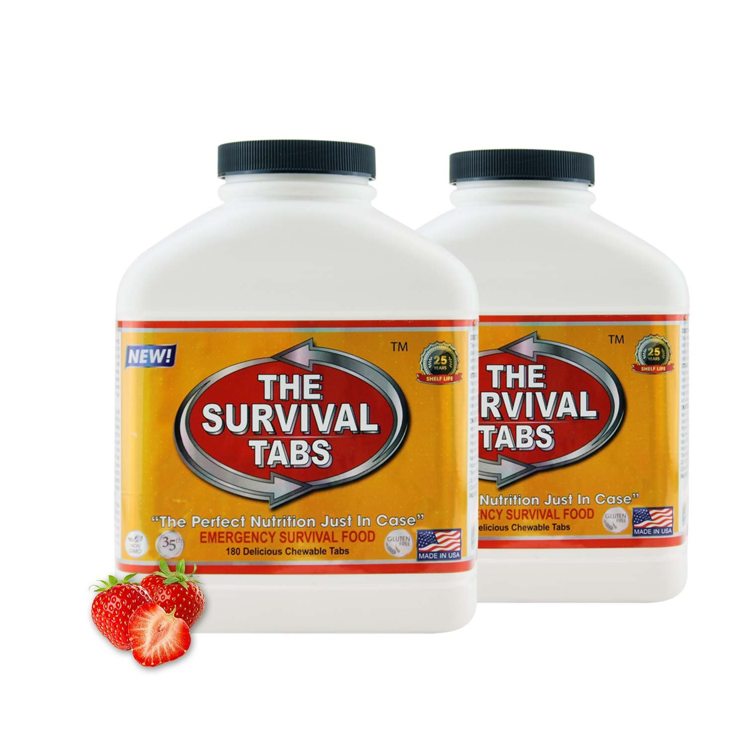Survival Tabs 30-day Food Supply Emergency Food Ration 360 tabs Survival MREs for Disaster Preparedness for Earthquake Flood Tsunami Gluten Free and Non-GMO 25 Years Shelf Life - Strawberry Flavor by LB1 High Performance