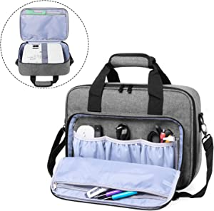 Luxja Projector Case, Projector Bag with Accessories Storage Pockets (Compatible with Most Major Projectors), Gray