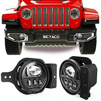 BICYACO LED Fog Lights with Adapter Ring for Jeep Wrangler JL 2020-2020 Passing Lights 30W-Black: Automotive