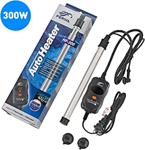 300 Watt Aquarium Heater Fast Heating Titanium Tube Saltwater Fully Submersible Fish Tank Heaters with LED Digital Temperature External Controller Freshwater Safety Pinpoint Thermostat 53-80 Gallon