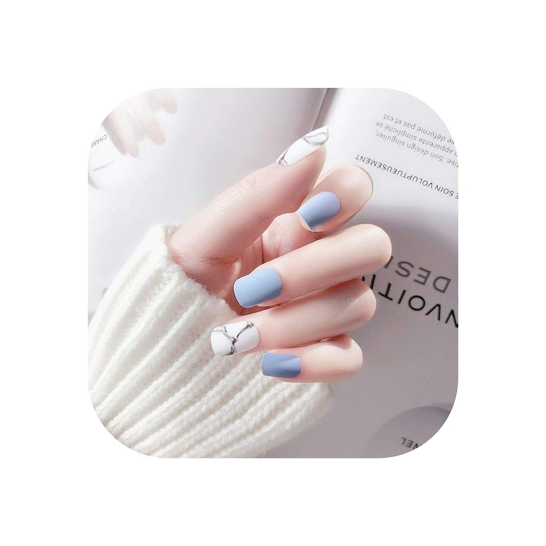 f23e2f5baef Amazon.com : 24Pcs White Light Blue Fake Nail Frost Matte Marble ...