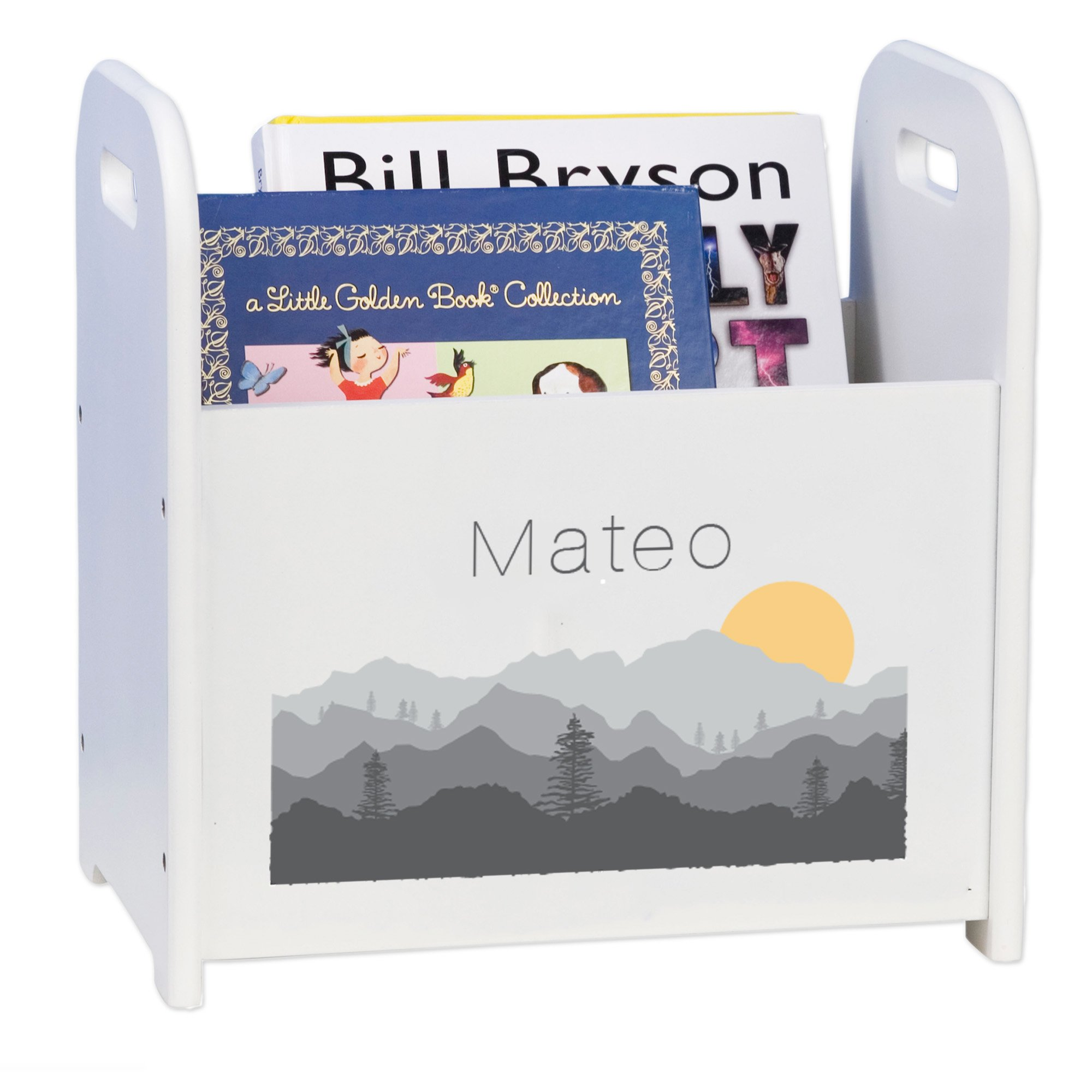 MyBambino Personalized Book Caddy and Storage with Misty Mountain Design