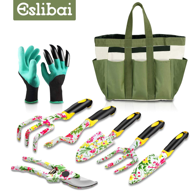 Eslibai Garden Tools Set, 9 Gardening Tools with Soft Garden Gloves and Beautiful Garden Tote Fairy Gardening Gifts Set with Garden Trowel and More by Eslibai