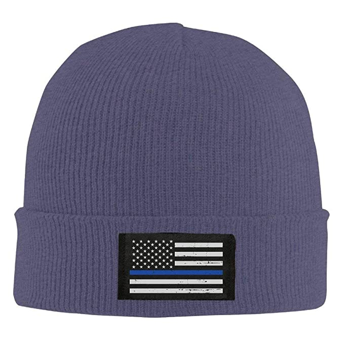 e677ebb850f1b Image Unavailable. Image not available for. Color  HATS NEW Winter Military  Thin Blue Line Flag Knit Hat Beanie ...