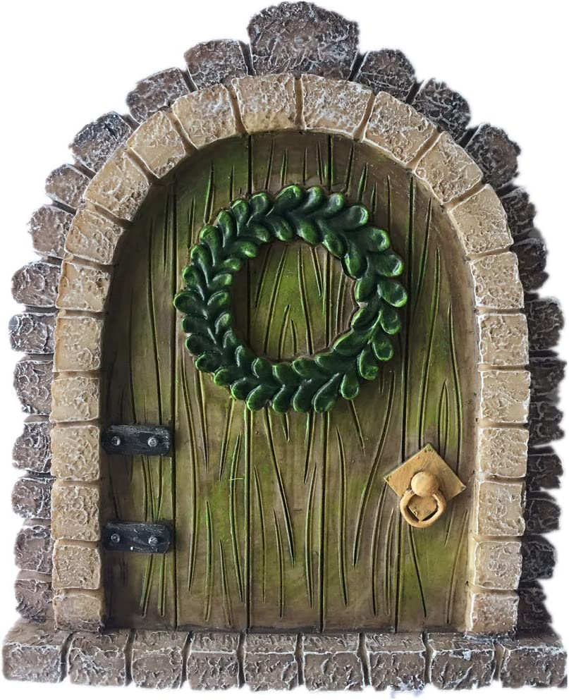 MUAMAX Fairy Garden DoorMiniature Fairy Doors Wall Outdoor Mystical Door for Tree Trunk Brown