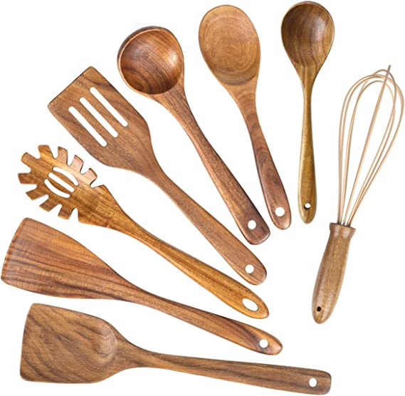 This Beautiful Wooden spurtles Set are The Perfect Acacia Wood Utensils. The Must Have Wooden Utensils for Cooking Elegant Grains by PDSM 4 Piece Teak Wooden Spurtle Set