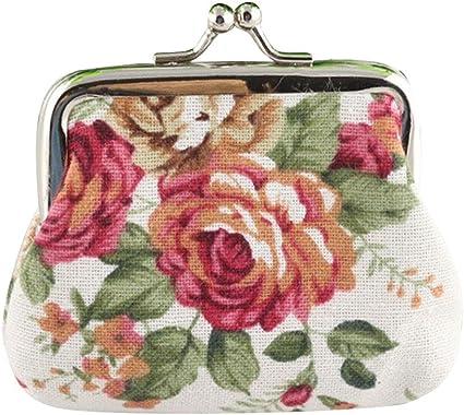 Floral Coin Purses Vintage Pouch Kiss-lock Change Purse Wallets
