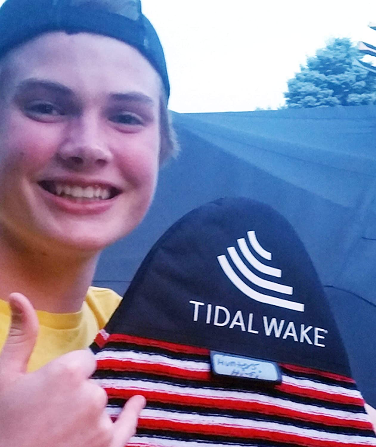"""Tidal Wake TAG-IT Pointed Nose Surf & Wake Board Sock Bag with Built-in Name Tag, Personalize - Small 52-53\"""", Tag Your Bag (Green & Blue Striped)"""