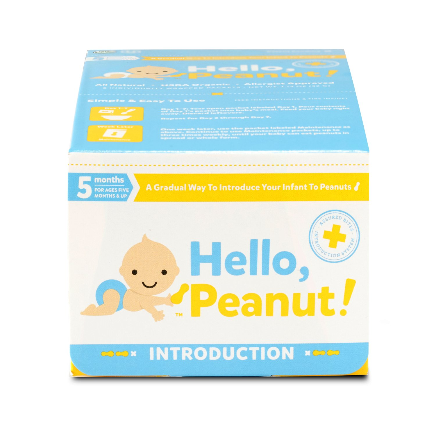 Hello, Peanut! Introduction System for A Gradual Way to Introduce Your Infant to Peanuts, 7 Day System, Allergist Approved, All Natural, USDA Organic, Simple to Use (8 Packets) by Hello, Peanut!